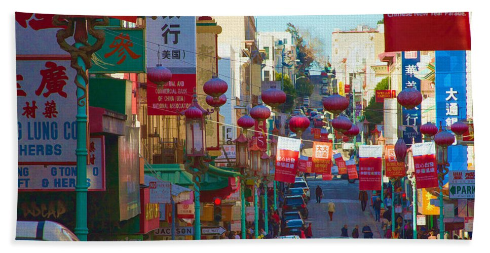 Bonnie Follett Beach Towel featuring the photograph Chinatown Street Scene by Bonnie Follett