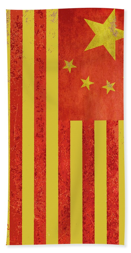 China Flag Beach Towel featuring the painting Chinese American Flag Vertical by Tony Rubino