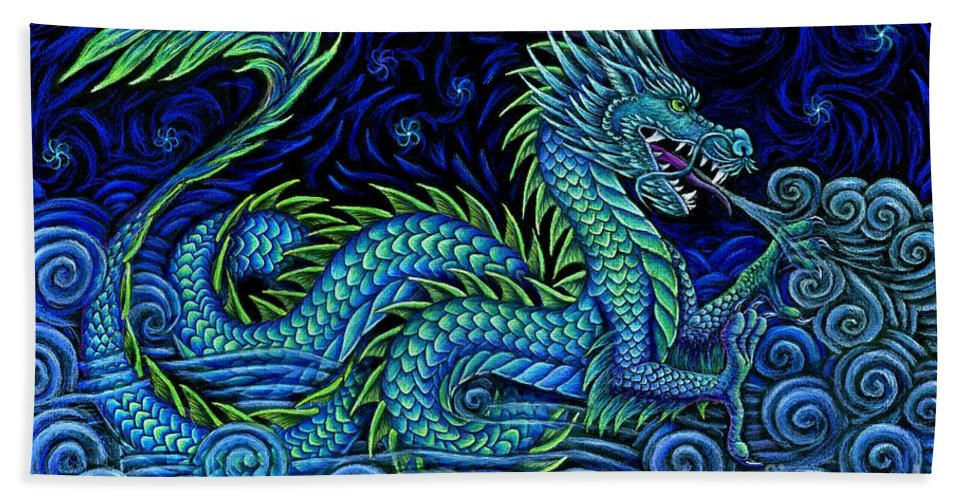 Chinese Dragon Beach Towel featuring the drawing Chinese Azure Dragon by Rebecca Wang