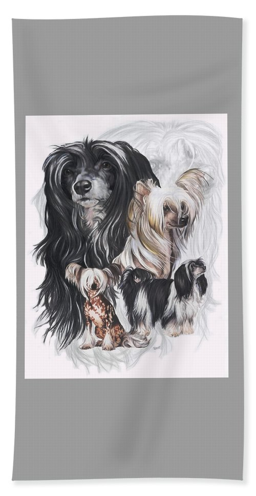 Toy Class Beach Towel featuring the mixed media Chinese Crested And Powderpuff W/ghost by Barbara Keith