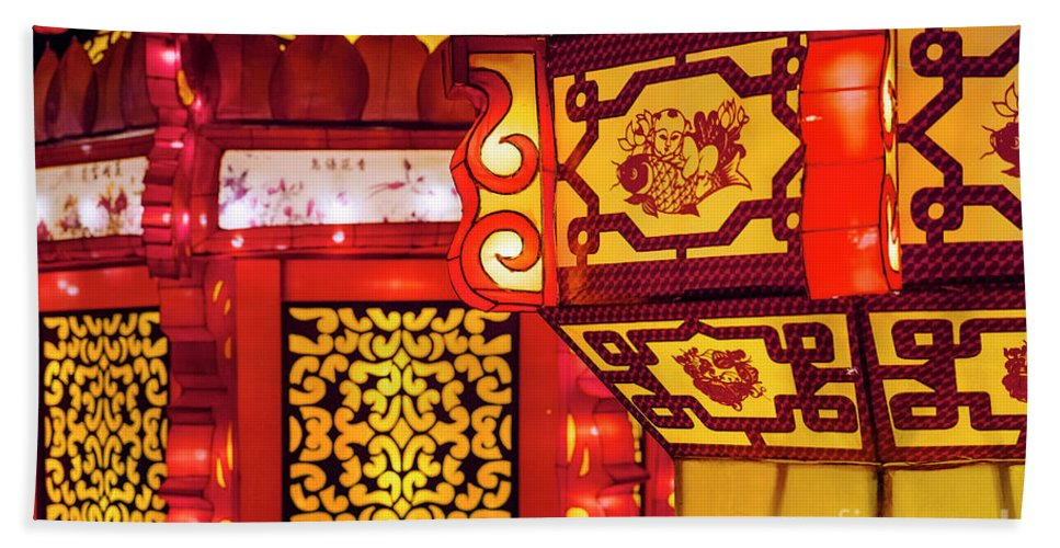 Chinese New Year Beach Towel featuring the photograph Chinese Lantern by John Greim