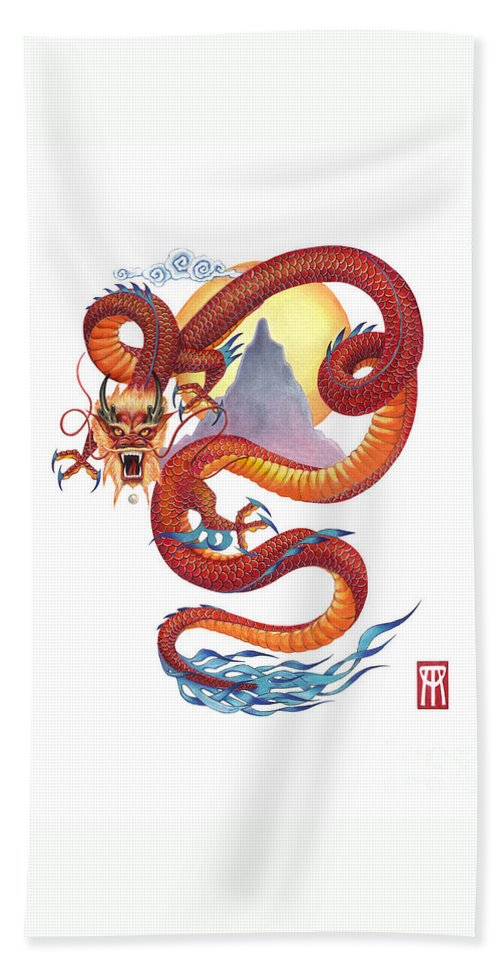 Dragon Beach Towel featuring the painting Chinese Red Dragon by Melissa A Benson