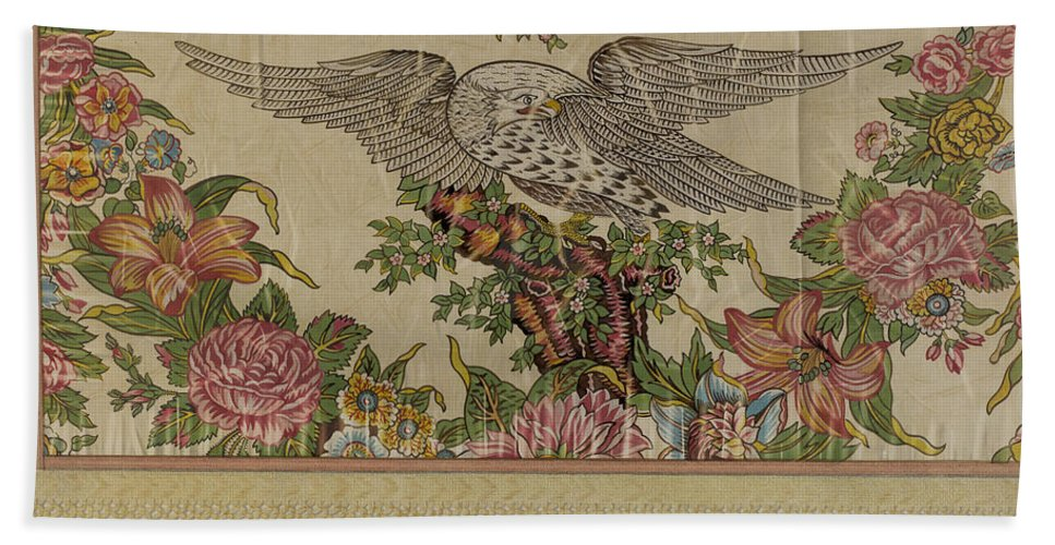 Beach Towel featuring the drawing Chintz Valance For Poster Bed by Raymond Manupelli