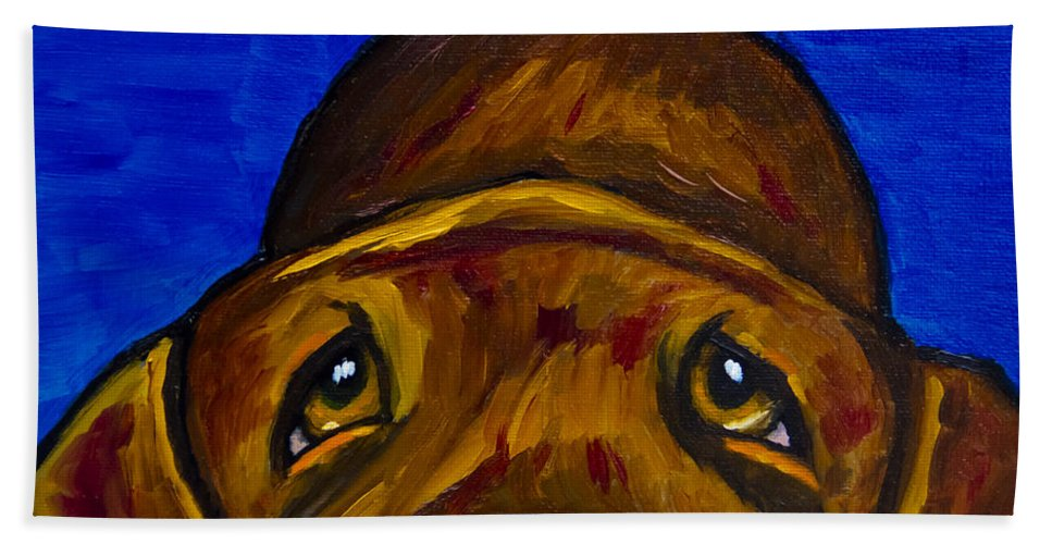 Labrador Retriever Beach Towel featuring the painting Chocolate Lab Nose by Roger Wedegis