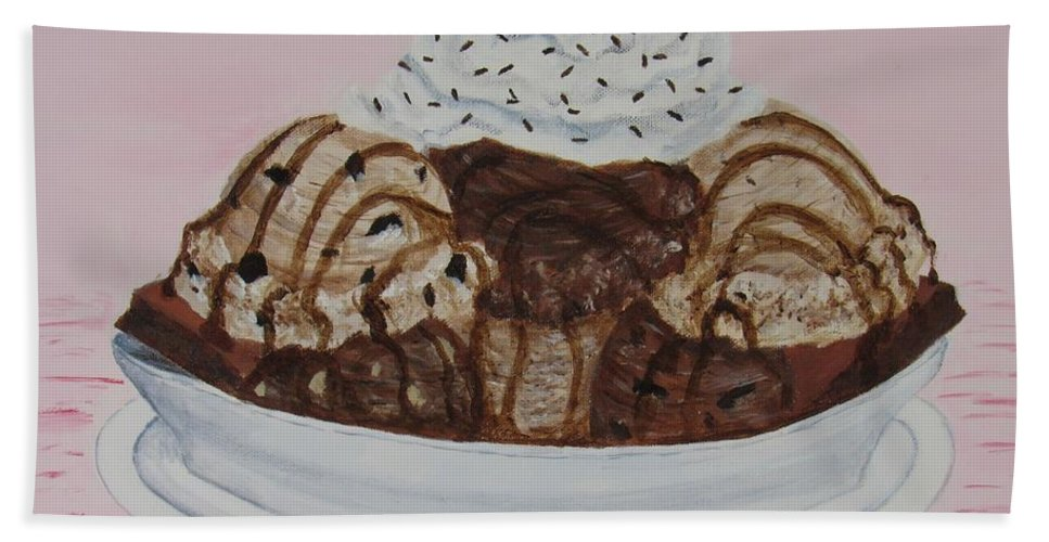 Brownie Beach Sheet featuring the painting Chocolatey Brownie Sundae by Nancy Nale
