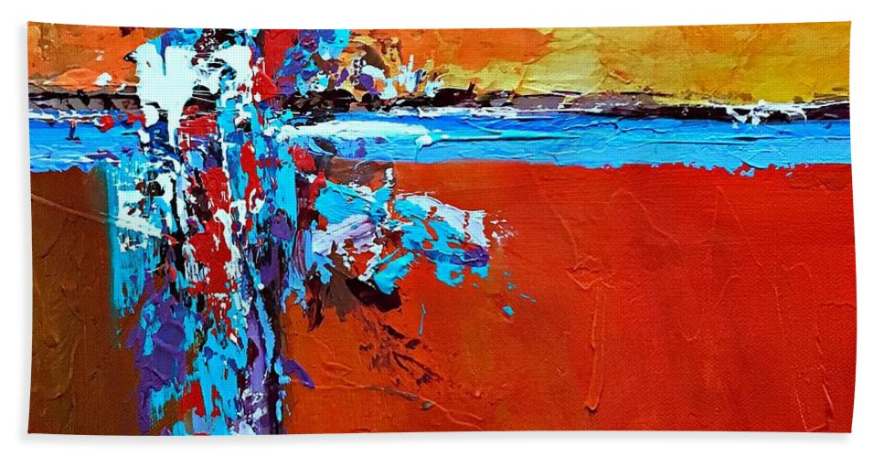 Abstract Art Beach Towel featuring the painting Choice by Mary Mirabal
