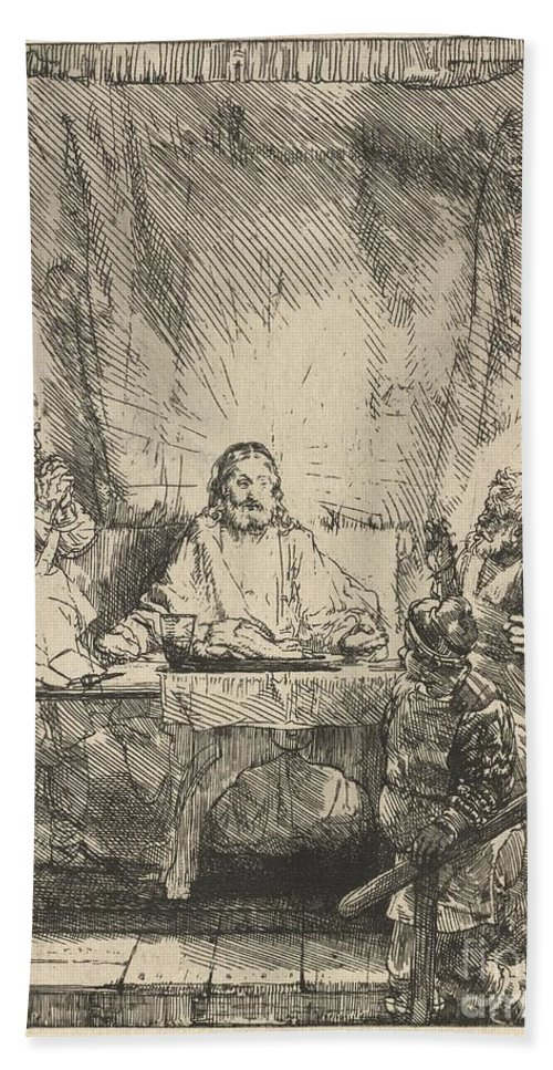 Beach Towel featuring the drawing Christ At Emmaus: The Larger Plate by Rembrandt Van Rijn