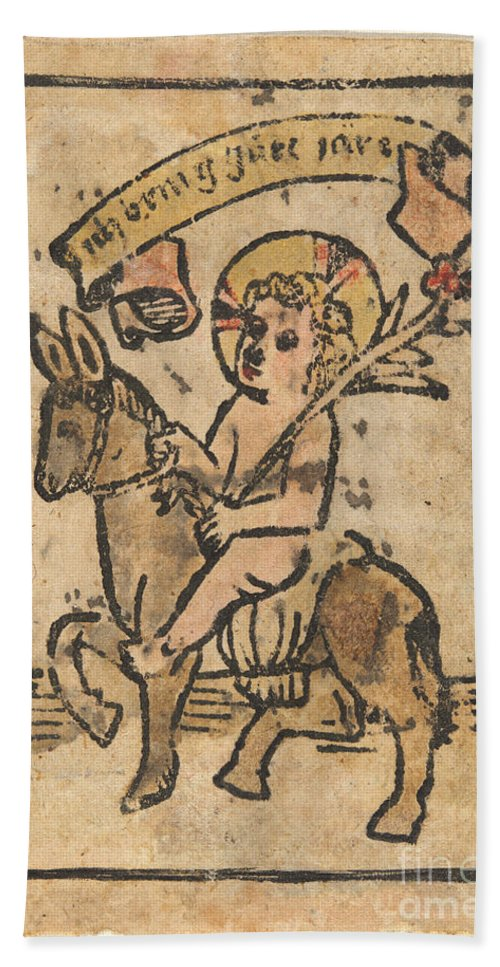 Beach Towel featuring the drawing Christ Child On Donkey by German 15th Century