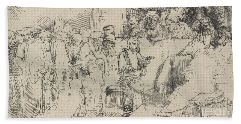 Beach Towel featuring the drawing Christ Disputing With The Doctors: A Sketch by Rembrandt Van Rijn