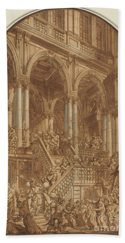Beach Towel featuring the drawing Christ Led Captive From A Palace by Giuseppe Galli Bibiena