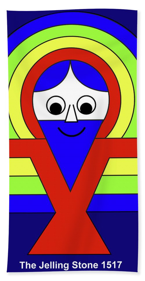 Beach Towel featuring the mixed media Christ on the Jelling Stone by Asbjorn Lonvig