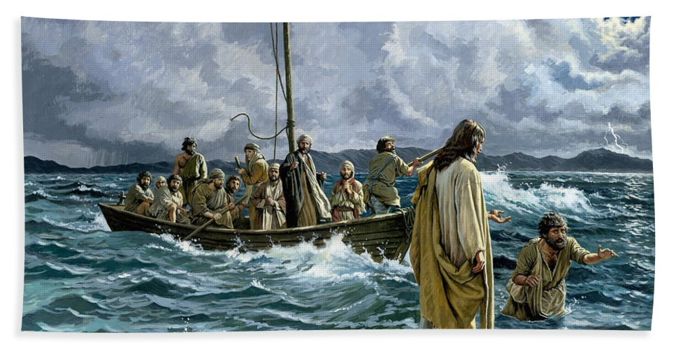 Christ Beach Towel featuring the painting Christ walking on the Sea of Galilee by English School