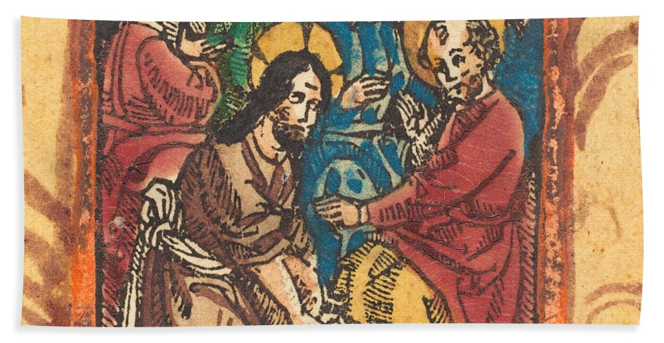 Beach Towel featuring the drawing Christ Washing The Feet Of The Apostles by German 15th Century
