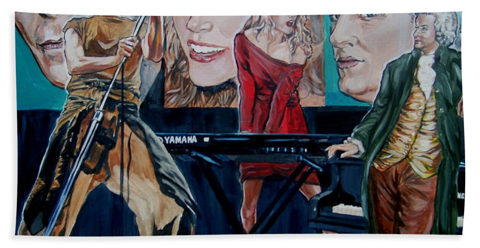 Christine Anderson Beach Towel featuring the painting Christine Anderson Concert Fantasy by Bryan Bustard