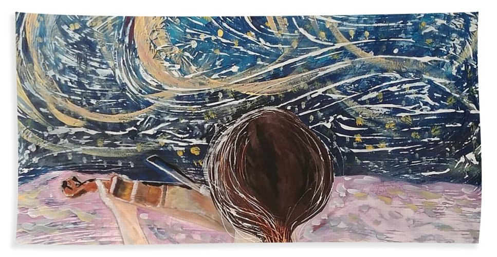 Angel Beach Towel featuring the painting christmas Eve and a Starry Night by J Bauer