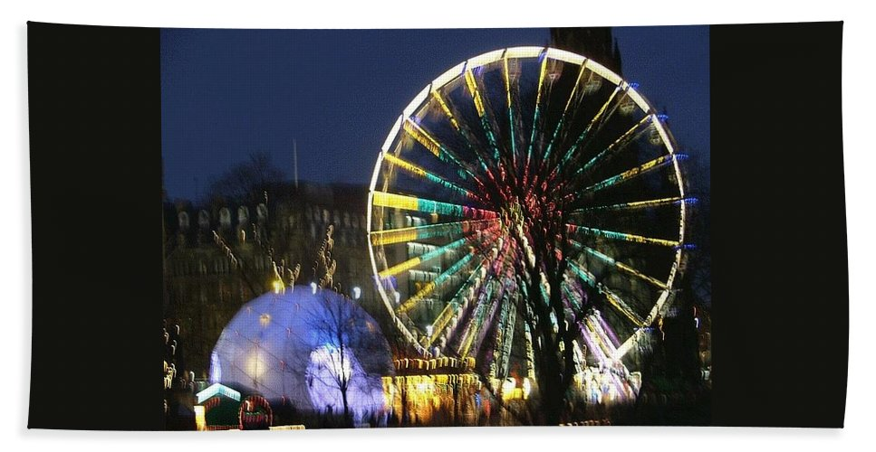 Edinbugh Beach Towel featuring the photograph Christmas Fair Scotland by Heather Lennox