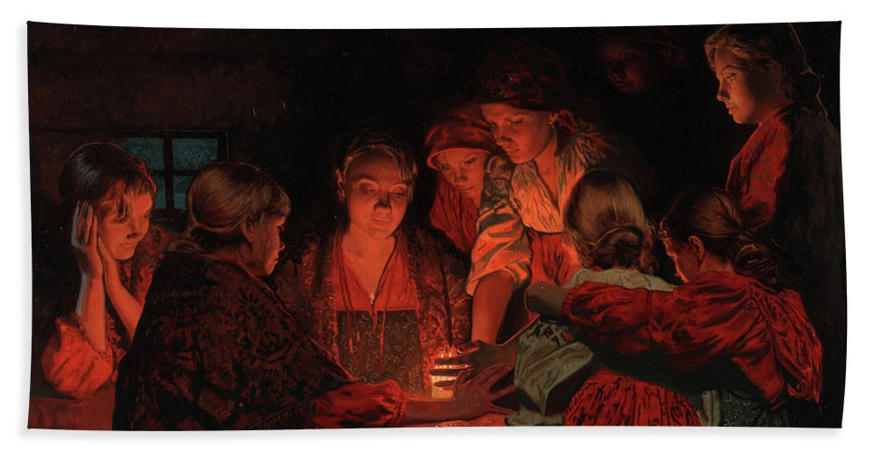 Christmas Beach Towel featuring the painting Christmas Fortune-telling. by Simon Kozhin
