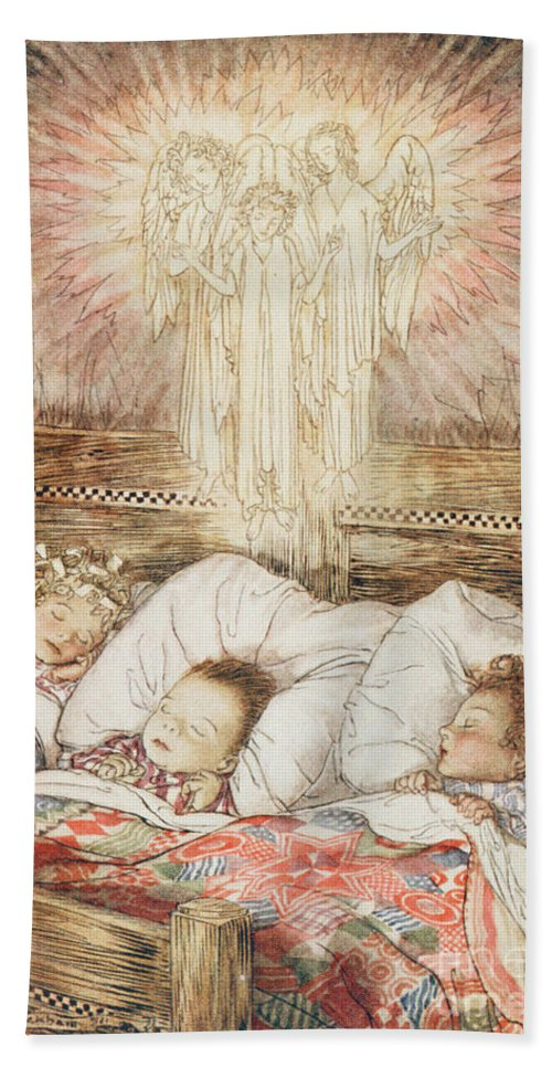 Xmas Beach Towel featuring the drawing Christmas Illustrations From The Night Before Christmas by Arthur Rackham