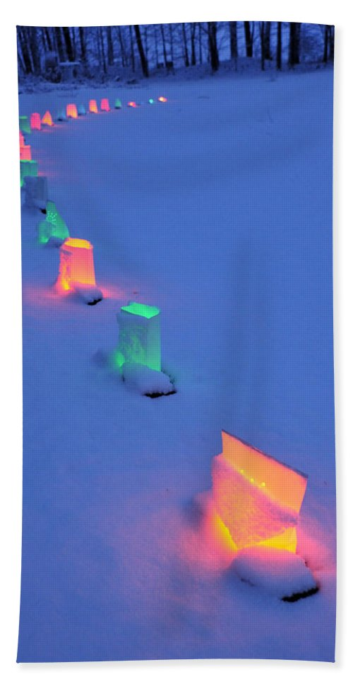 Light Beach Towel featuring the photograph Christmas Lights In The Snow by David Arment