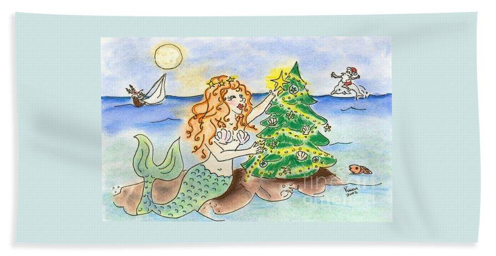 Mermaid Beach Towel featuring the drawing Christmas Mermaid by Vonda Lawson-Rosa