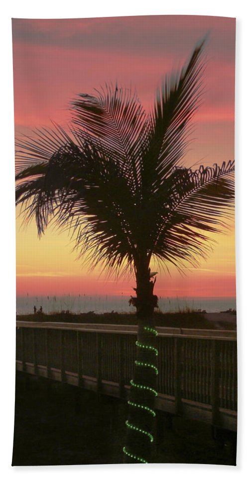 Christmas Beach Towel featuring the photograph Christmas Palm by Steven Sparks