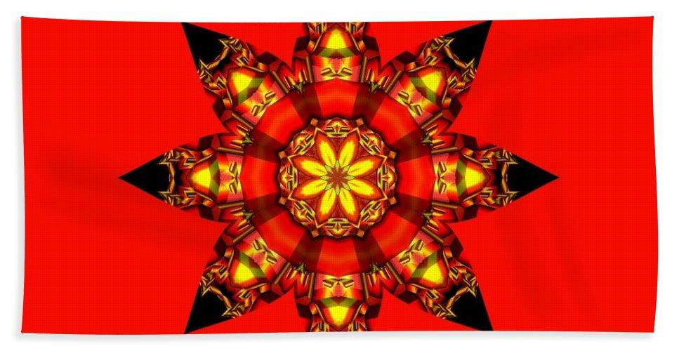 Kaleidoscope Beach Towel featuring the digital art Christmas Star by Elaine Teague