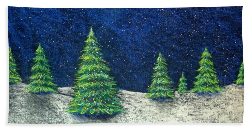 Christmas Beach Towel featuring the drawing Christmas Trees in the Snow by Nancy Mueller