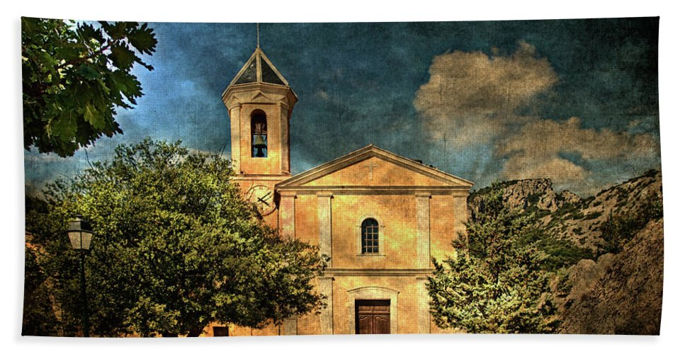 Architecture Beach Towel featuring the photograph Church In Peillon by Roberto Pagani