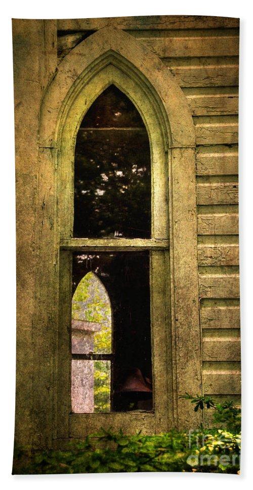 Church Beach Towel featuring the photograph Church Window Church Bell by Lois Bryan