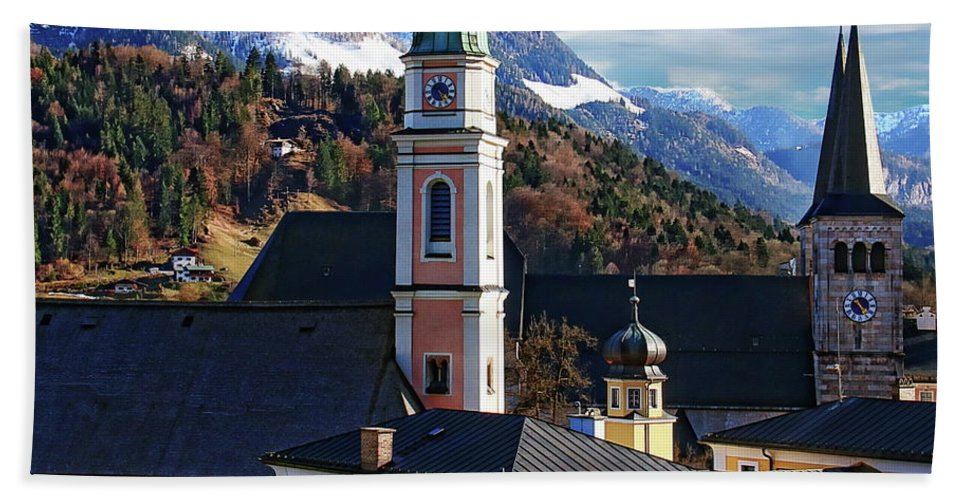 Berchtesgaden Beach Towel featuring the photograph Churches In Berchtesgaden by Anthony Dezenzio