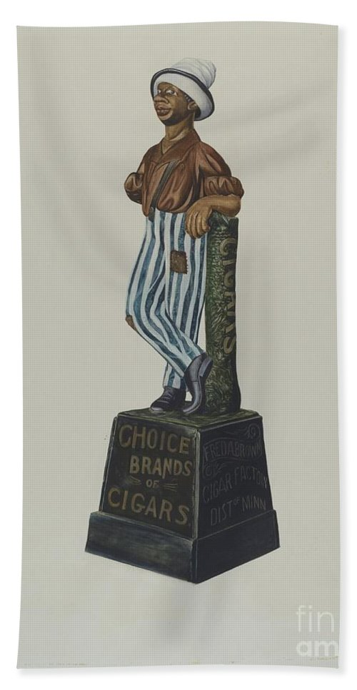 Beach Towel featuring the drawing Cigar Store Figure by Einar Heiberg