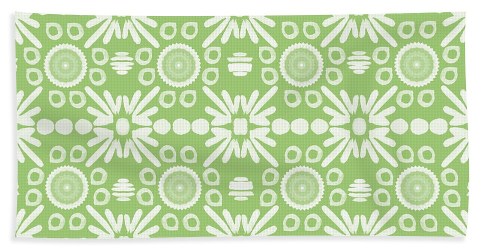 Cilantro Beach Towel featuring the mixed media Cilantro- Green And White Art By Linda Woods by Linda Woods