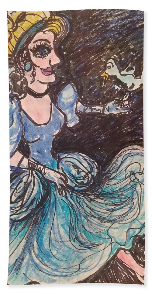 Cinderella Beach Towel featuring the painting Cinderella by Geraldine Myszenski