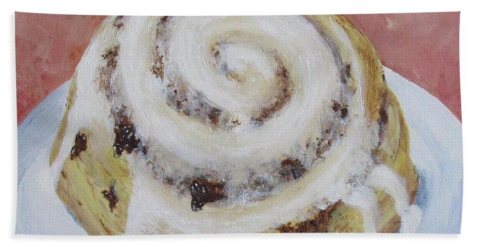 Cinnamon Roll Beach Towel featuring the painting Cinnamon Roll by Nancy Nale