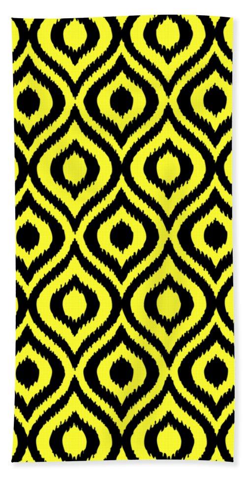 Ikat Beach Towel featuring the digital art Circle And Oval Ikat In Black N05-p0100 by Custom Home Fashions