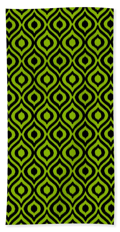 Ikat Beach Towel featuring the digital art Circle And Oval Ikat In Black N09-p0100 by Custom Home Fashions