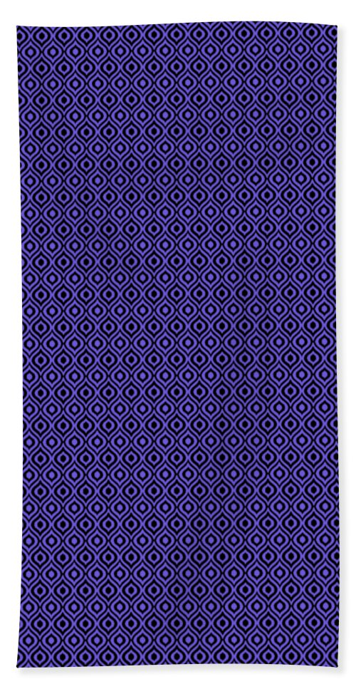 Ikat Beach Towel featuring the digital art Circle And Oval Ikat In Black N30-p0100 by Custom Home Fashions
