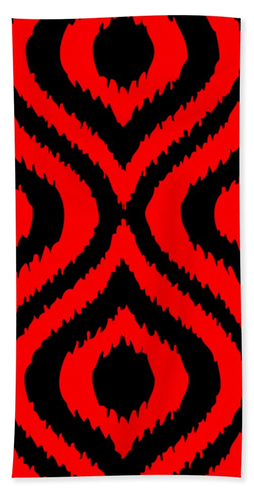 Ikat Beach Towel featuring the digital art Circle And Oval Ikat In Black T02-p0100 by Custom Home Fashions