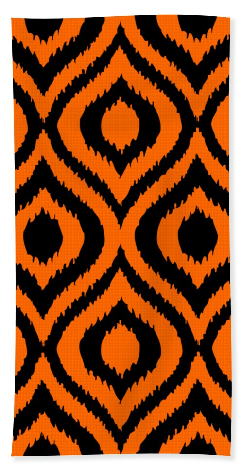 Ikat Beach Towel featuring the digital art Circle And Oval Ikat In Black T03-p0100 by Custom Home Fashions