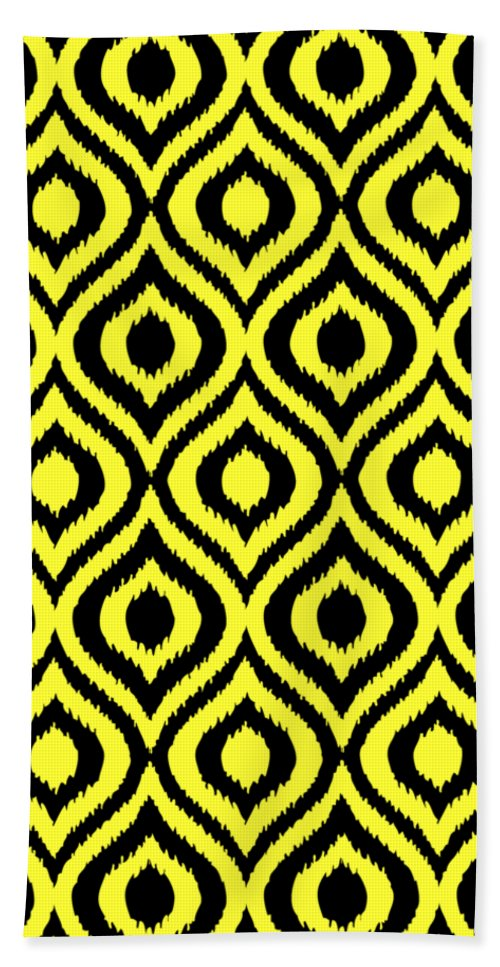 Ikat Beach Towel featuring the digital art Circle And Oval Ikat In Black T05-p0100 by Custom Home Fashions