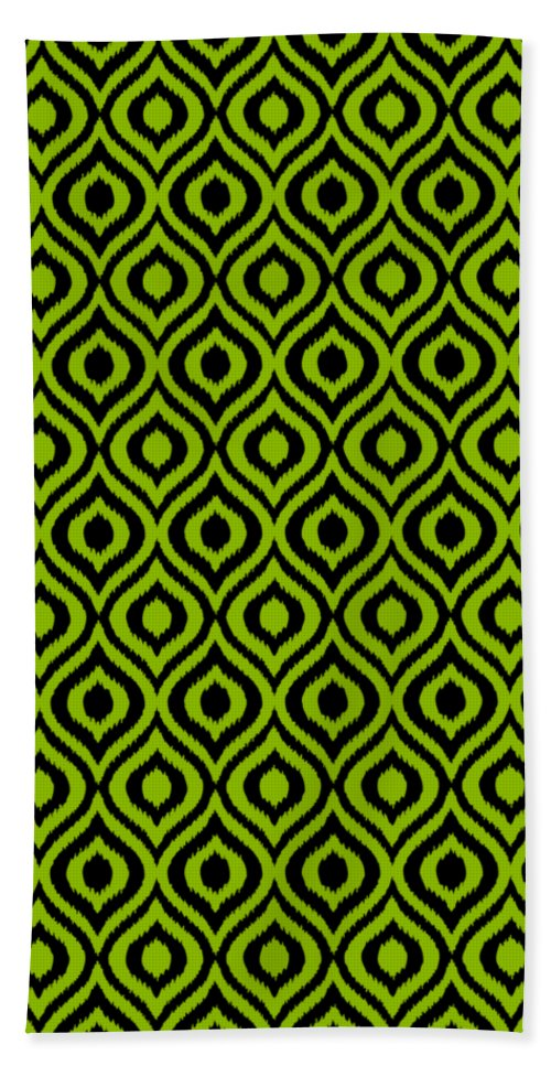Ikat Beach Towel featuring the digital art Circle And Oval Ikat In Black T09-p0100 by Custom Home Fashions