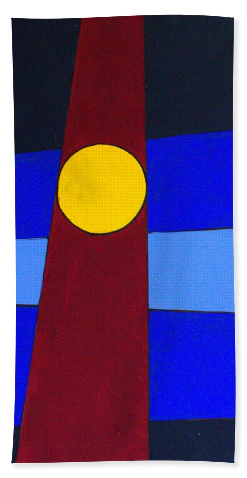 Abstract Beach Towel featuring the painting Circles Lines Color by J R Seymour