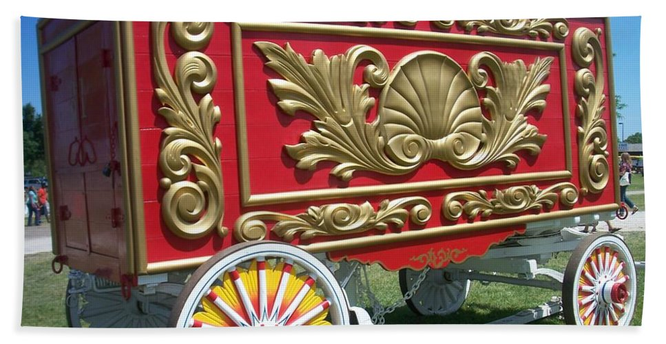 Circus Beach Towel featuring the photograph Circus Car In Red And Gold by Anita Burgermeister