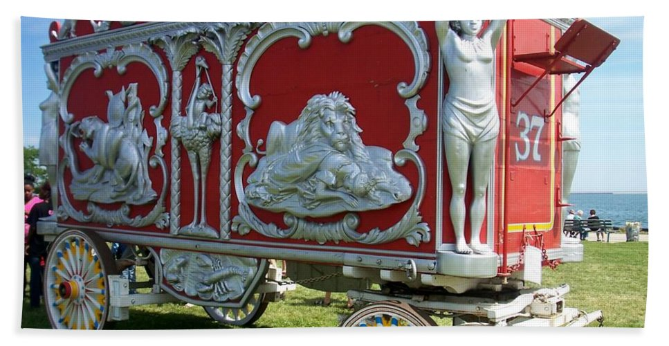 Circus Beach Towel featuring the photograph Circus Car In Red And Silver by Anita Burgermeister