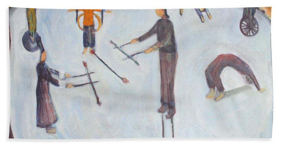 Circus Series Beach Towel featuring the painting circus I by Nandu Vadakkath