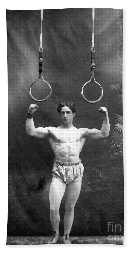 1885 Beach Towel featuring the photograph Circus Strongman, 1885 by Granger