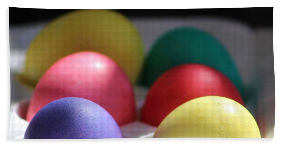 Dye Beach Towel featuring the photograph Citrus and Ultra Violet Easter Eggs by Colleen Cornelius