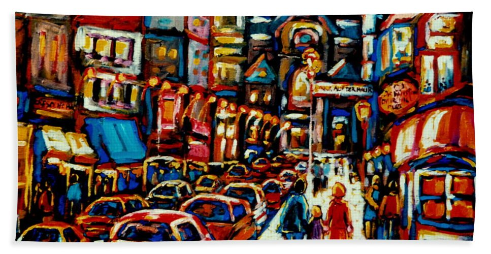 City At Night Downtown Montreal Montreal Beach Towel featuring the painting City At Night Downtown Montreal by Carole Spandau