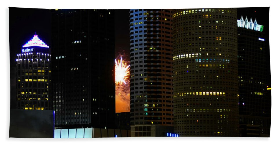 Fine Art Photography Beach Towel featuring the photograph City Celebration by David Lee Thompson
