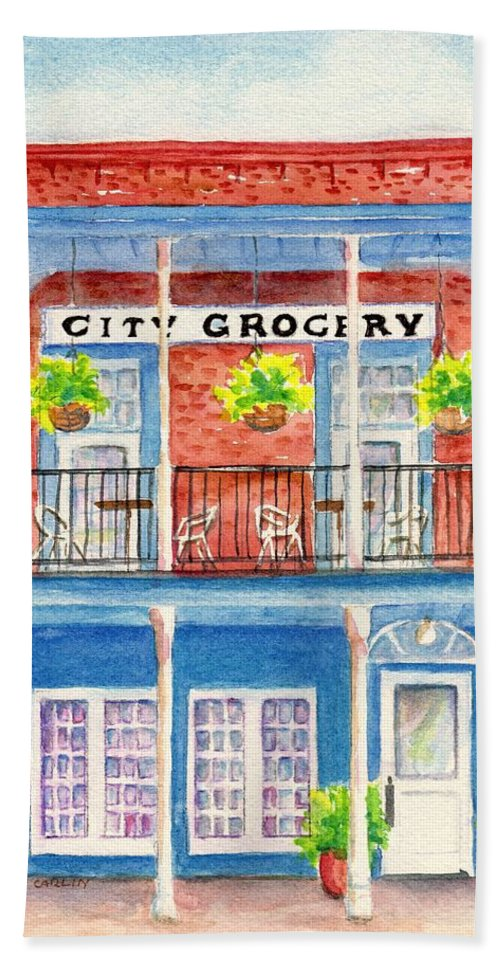 Oxford Ms Beach Towel featuring the painting City Grocery Oxford Mississippi by Carlin Blahnik CarlinArtWatercolor
